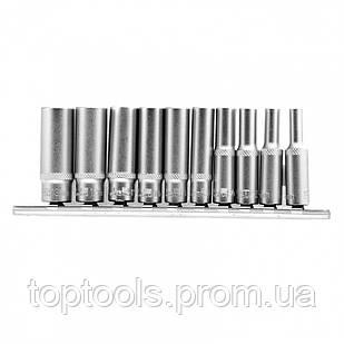 Набор удлиненных торцевых головок 1/4, шестигранні, CrV, 10 шт, 4-13 мм Stels