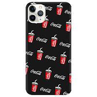 Чехол для Apple iPhone 11 Pro черный матовый soft touch Coca Cola