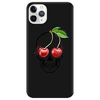 Чехол для Apple iPhone 11 Pro черный матовый soft touch Cherry skull