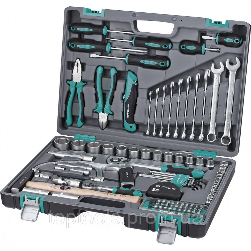 """Набір інструменту 1/2"""", 1/4"""", CRV, 98 предметів, пластиковий кейс, STELS"""