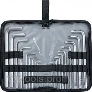 Набір подовжених ключів імбусових HEX-TORX, 18 шт: HEX 1.5-10 мм, T10-T50, CrV, сатин, MTX