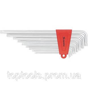 Набір екстра-довгих ключів імбусових TORX, 9 шт: T10-T50, CrV, сатин, МТХ
