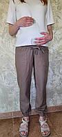 Брюки лен для беременных,накладные карманы 2130