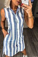 Платье-рубашка лен полосатое летнее до 52 размера