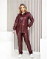 Женский стильный костюм: брюки и рубашка из эко-кожи, фото 1