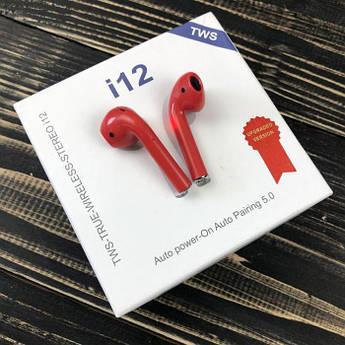 Бездротові bluetooth-навушники i12 TWS 5.0 з мікрофоном для пк телефону wireless вкладиші блютуз червоні