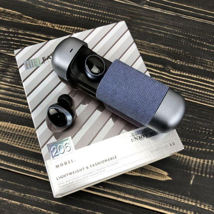 Беспроводные bluetooth наушники HIFI Earphone 206 с микрофоном для пк телефона wireless вкладыши блютуз синие