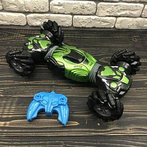 Трюковая машинка багги перевертыш Champions Stunt Car вездеход на радиоуправлении 40 см double sided зеленый