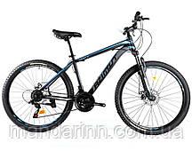 """Горный велосипед Azimut 40D  26 дюймов. Дисковые тормоза. Рама 17"""". Черно Синий"""