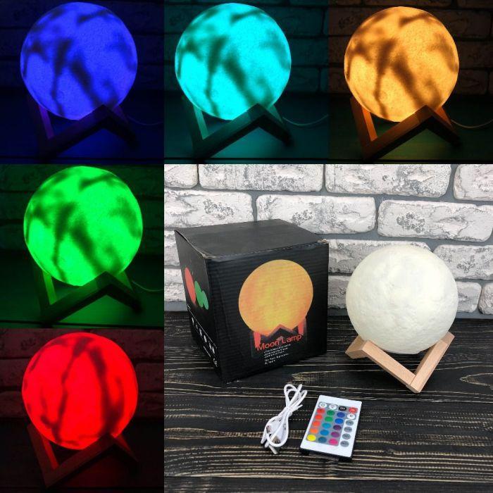 Настільний світильник з 3D ефектом Moon Light Lamp нічник місяць з пультом 3д куля