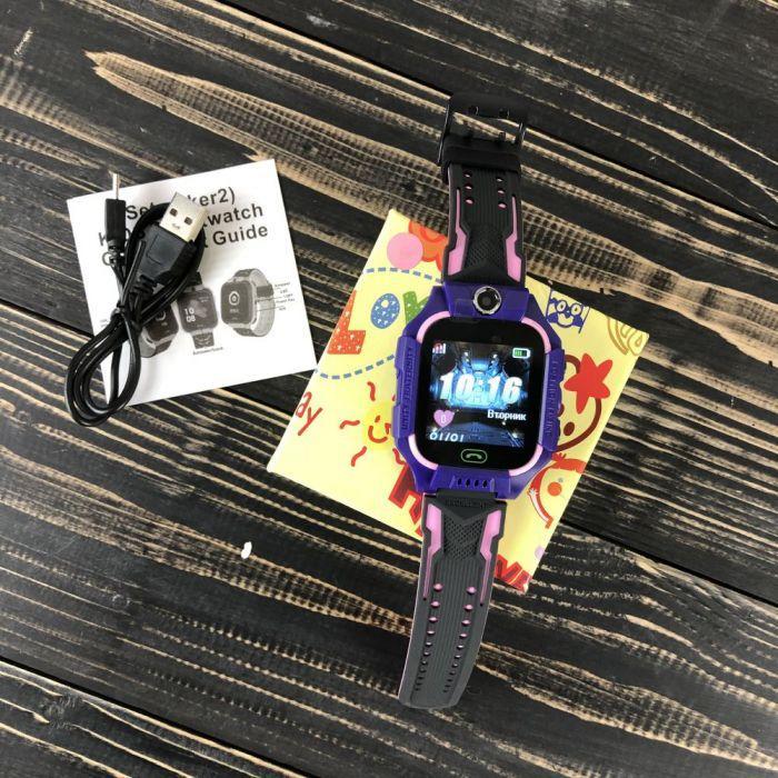Дитячі смарт годинник Baby Smart Watch Q6 з камерою GPS трекером сім sim картою розумні фіолетові телефон