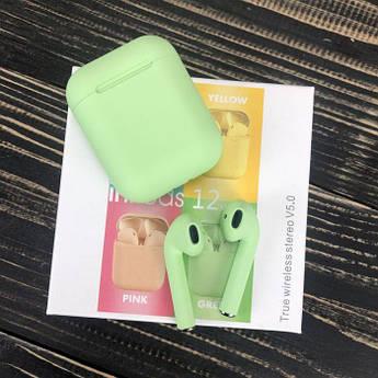 Бездротові bluetooth-навушники inPods 12 з мікрофоном для пк телефону wireless вкладиші блютуз зелені