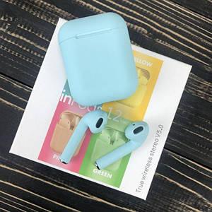 Беспроводные bluetooth наушники inPods 12 с микрофоном для пк телефона wireless вкладыши блютуз голубые