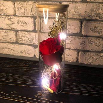 Роза в колбі з LED підсвічуванням червона вічна стабілізована під колбою подарунок на 14 лютого дівчині