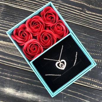 Подарунковий набір Мильні троянди з кулоном букет з мила в коробці подарунок на 8 березня мамі дівчині мильні