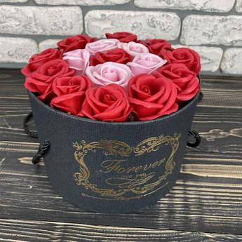 Мильні троянди букет з мила в коробці подарунковий набір мильні квіти подарунок на 8 березня мамі дівчині