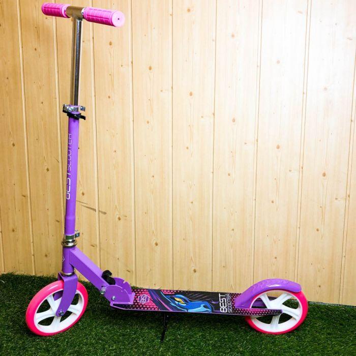 Городской детский самокат Best Scooter самокат с большими колесами 200 мм самокат с ручным тормозом розовый