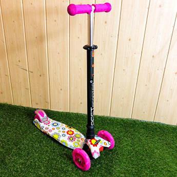 Детский самокат трехколесный Best Scooter MAXI самокат для девочки кикборд со светящимися колесами розовый