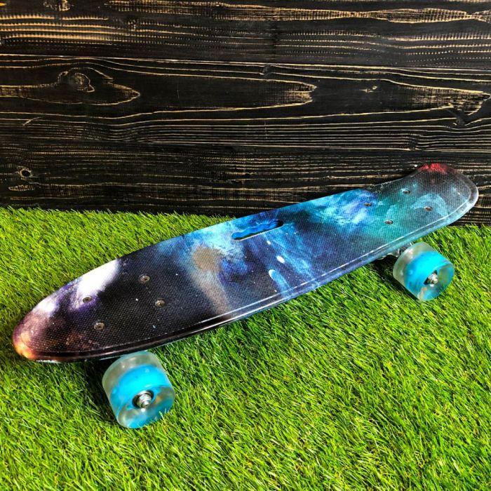 Скейтборд пенни борд со светящимися колесами с рисунком пенни борд пенні борд пенниборд пениборд космос