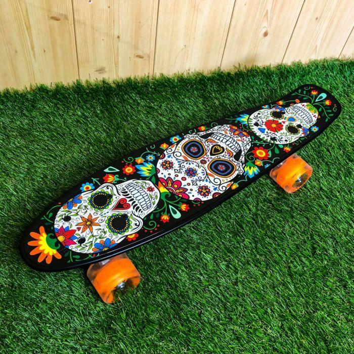 Скейтборд пенни борд со светящимися колесами с рисунком пенни борд пенні борд пенниборд пениборд череп