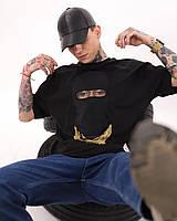 Мужская футболка оверсайз с крутым принтом черная