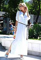 Белое льняное  платье в пол с разрезами по бокам