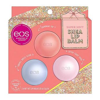Набор бальзамов для губ EOS Super Soft Shea Lip Balm Holiday Gift Set 3 x 7 г