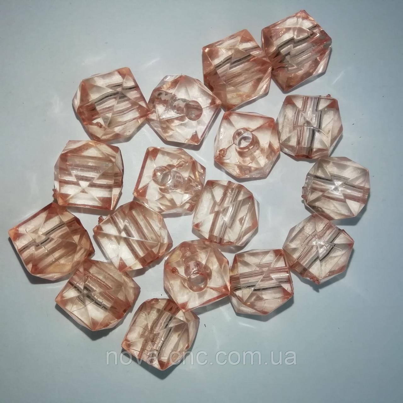 """Бусины акрил """"Куб грани"""" светло-коричневый 12 мм 500 грамм"""