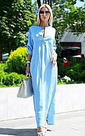льняное  платье в пол с разрезами по бокам