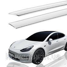 Дефлекторы окон, ветровики хромированные Tesla Model 3 2017- (Autoclover E033)