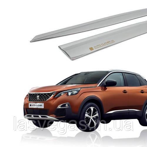 Дефлекторы окон, ветровики хромированные Peugeot 3008 2017- (Autoclover/6шт./E010)