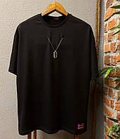 Футболка с цепочкой черная , мужская футболка