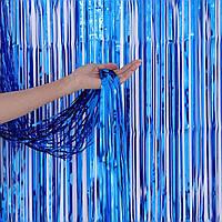 Шторка завісу з фольги для фото зон, СИНЯ 1х2 метри