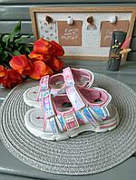 Босоножки для девочки розовые с пайетками