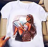 Белая футболка женская с рисунком на груди (р. 42-56) 2717482, фото 7