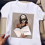 Белая футболка женская с рисунком на груди (р. 42-56) 2717482, фото 5