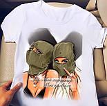 Белая футболка женская с рисунком на груди (р. 42-56) 2717482, фото 10