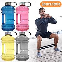 🔥 Велика пластикова спортивна пляшка для води, Фітнес пляшка з ручкою на 1,9 л (1900 мл)