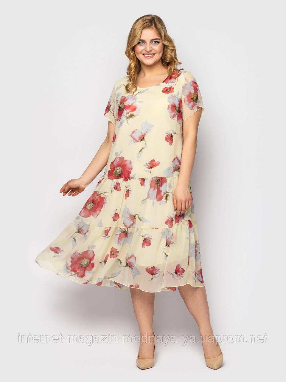 Летнее женское платье свободного кроя Катаисс р. 54-58