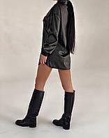 Жіноча стильна сорочка з еко-шкіри, фото 1