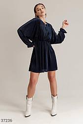 Свободное вельветовое платье темно-синее
