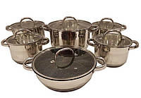 Набір посуду з 12 предметів (каструлі, сковорода) Edenberg з нержавіючої сталі EB-2119