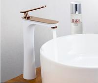 Смеситель латунный дизайнерский для раковины однорычажный кран WanFan Белый + Розовое Золото