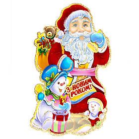 Декорация на окно - Дед Мороз, 37*21 см (471423)
