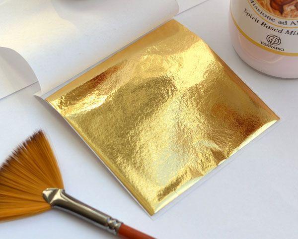 Фольга поталь для ногтей золотая декоративная 1шт
