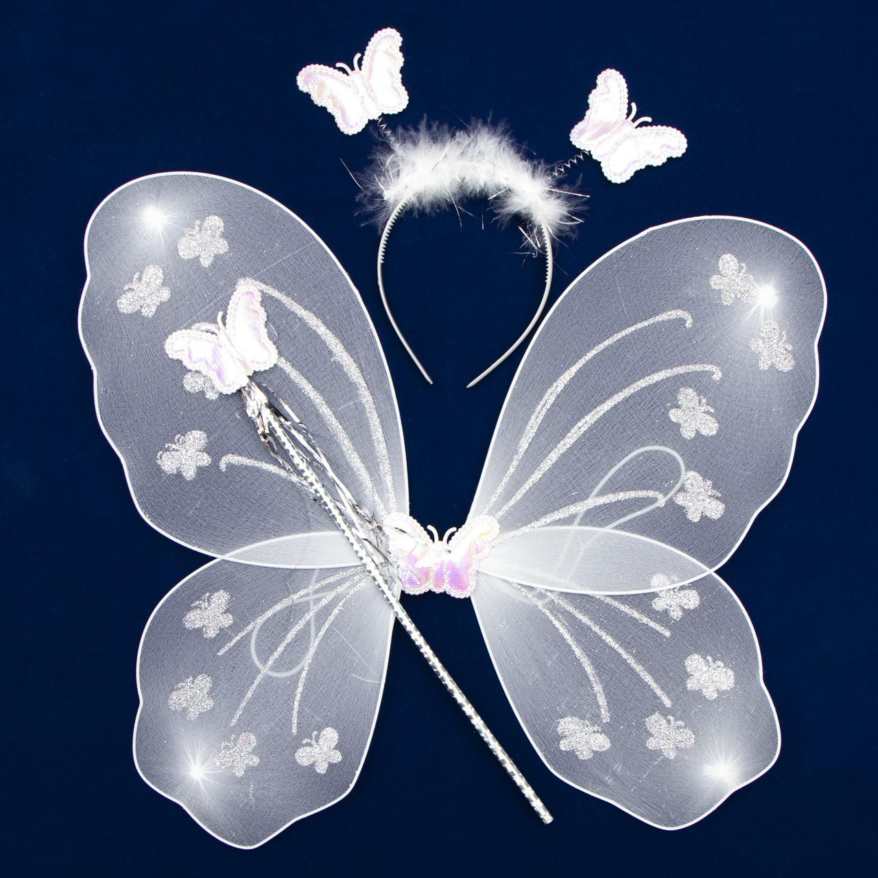 Карнавальний набір - крила, тіара, жезл, 47*38 см, білий (HLJ170419-17-1)