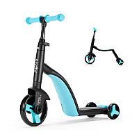 Детский самокат, велобег, велосипед Nadle TF3-1 Blue трехколесный для детей 3 в 1 с сиденьем складной