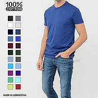Мужская однотонная футболка 100% хлопок, Узбекистан ТМ «Samo», Размеры:48,54 - ярко-синяя