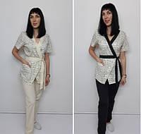 Жіночий медичний костюм Бель принт бавовна короткий рукав, фото 1