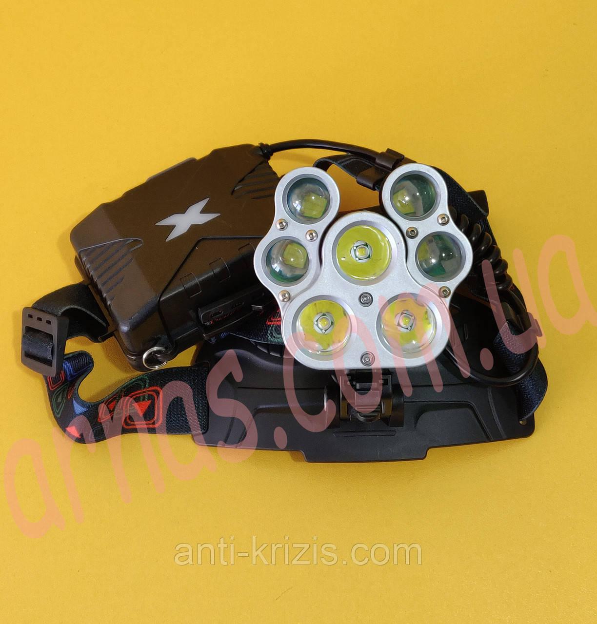 Налобний ліхтар акумуляторний W-627-T6